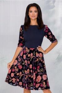 Rochie eleganta midi bleumarin cu insertii din catifea si voal imprimat