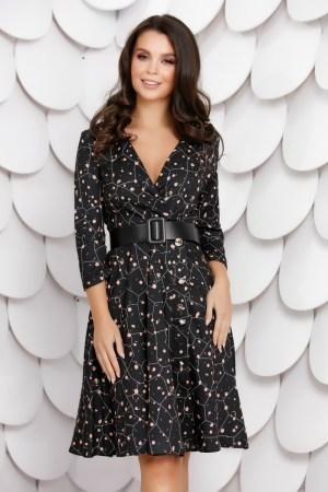 Rochie eleganta midi neagra cu decolteu petrecut in V si imprimeu
