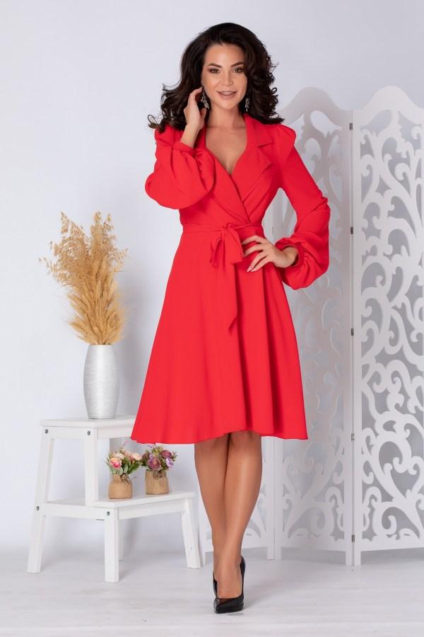 Rochie eleganta midi rosie cu maneci lungi si decolteu petrecut
