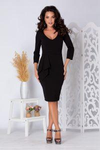 Rochie eleganta mulata midi neagra cu maneci lungi si decolteu in V