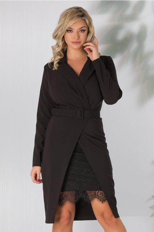 Rochie eleganta neagra cu dantela la baza si decolteu petrecut in V