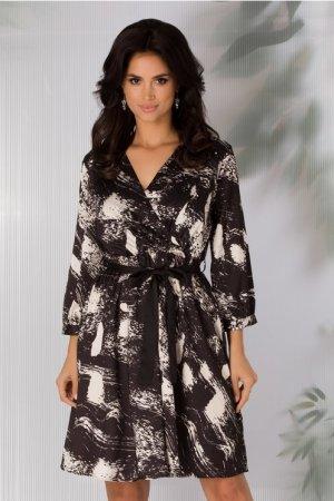 Rochie eleganta neagra cu imprimeu alb abstract si cordon negru in talie