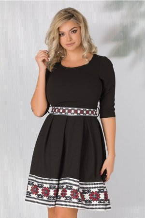 Rochie eleganta neagra in clos cu imprimeu la baza si cordon in talie
