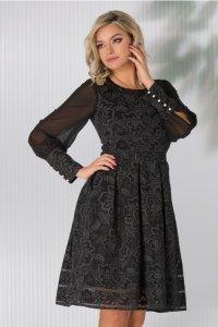 Elegant black midi dress with floral motifs and veil sleeves