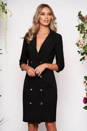 Rochie eleganta neagra petrecuta tip sacou din stofa usor elastica