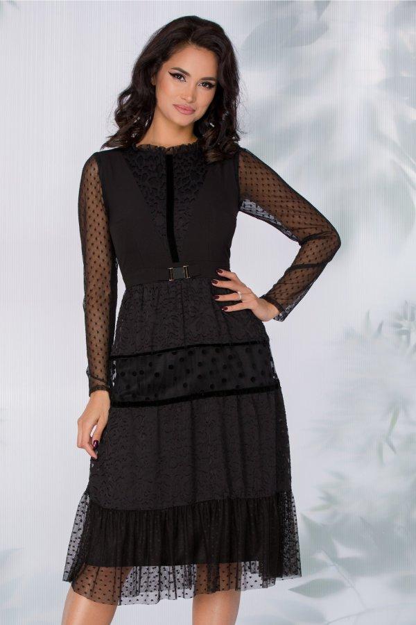 Rochie midi neagra eleganta cu tull delicat cu diverse imprimeuri insertii