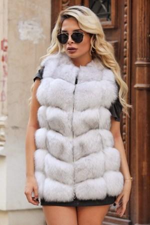 Vesta blana naturala dama vulpe polara alba cu fermoar