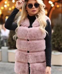 Vesta dama scurta roz-prafuit din blana ecologica cu buzunare