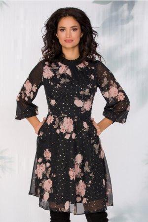 Rochie eleganta in clos din voal neagra cu imprimeu floral si maneci lungi