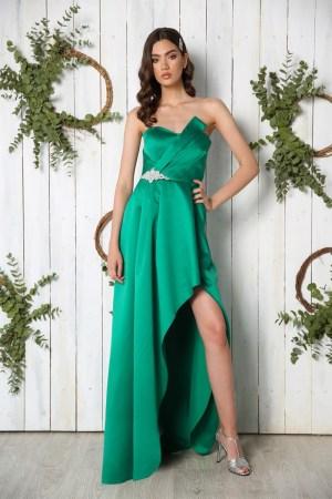 Rochie de ocazie eleganta asimetrica din tafta verde cu crapatura pe picior