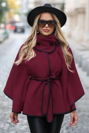 Capa dama cu cordon si guler inalt scurta bordo
