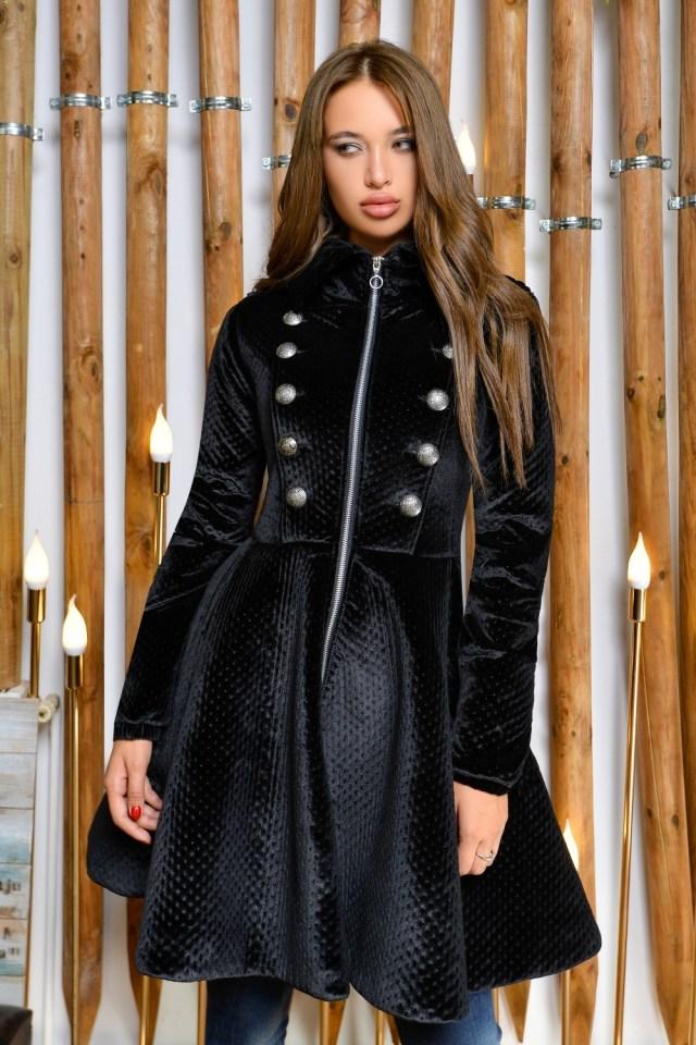 Jacheta dama neagra in clos din material texturat