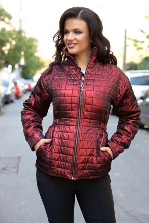 Jacheta din fas rosie cu maneci lungi