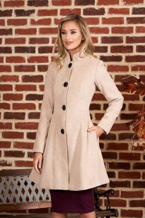 Palton cappuccino elegant in clos din stofa neelastica captusit pe interior