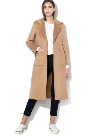 Palton dama bej din lana cu cordon la talie