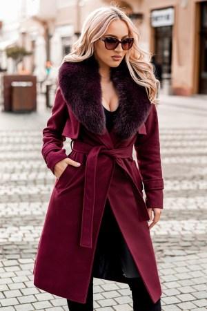 Palton dama bordo lung drept cu guler din blana naturala de vulpe