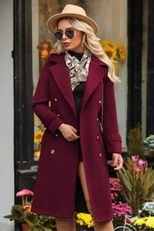 Palton dama bordo lung drept din stofa
