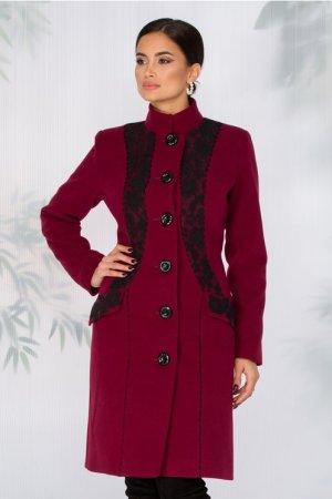 Palton dama elegant bordo cu broderie neagra handmade