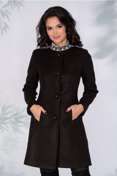 Palton dama elegant negru cu guler tip tunica