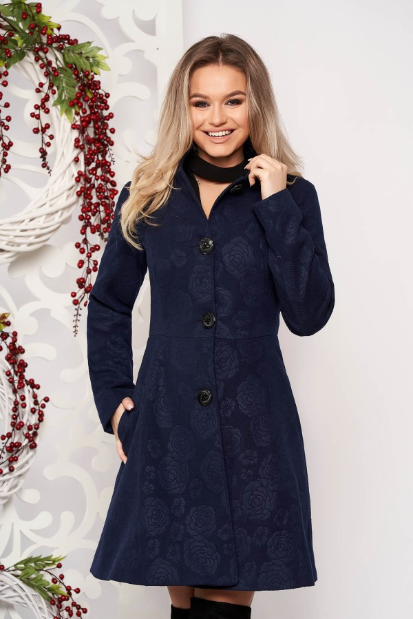 Palton dama elegant scurt albastru-inchis in clos din stofa captusit