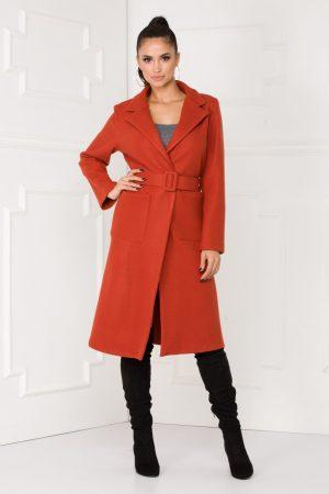 Palton dama lung caramiziu cu centura la talie