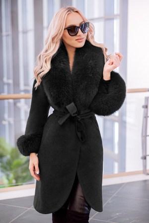 Palton dama negru din lana de alpaca cu guler din blana naturala