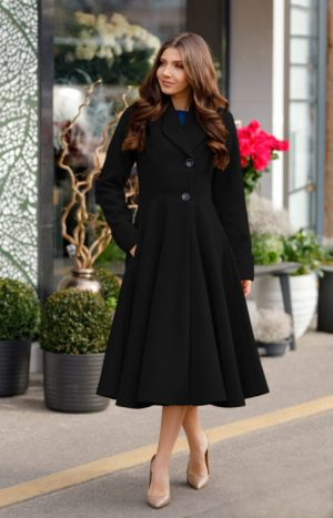 Palton dama negru lung evazat elegant din stofa