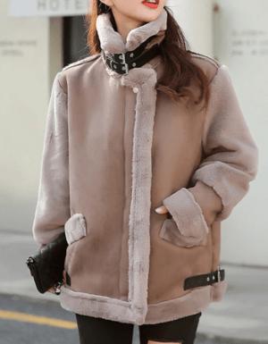 Palton dama scurta din piele intoarsa si blana ecologica cu guler inalt