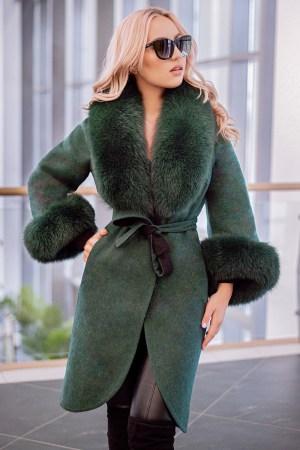 Palton dama verde din lana de alpaca cu guler din blana naturala