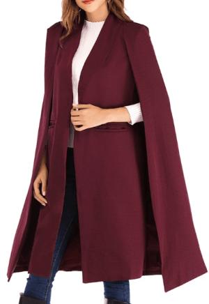 Palton lung bordo tip pelerina
