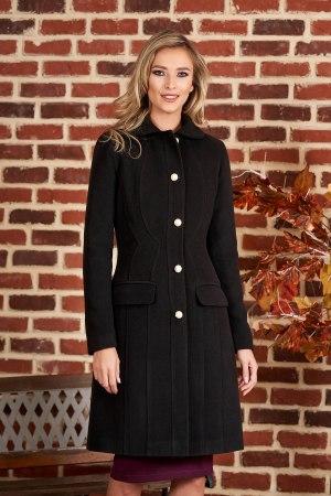 Palton negru office din material gros captusit pe interior
