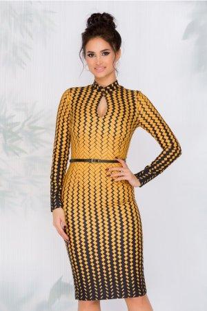 Rochie Eleganta de zi midi cu imprimeuri galbene si maneci lungi
