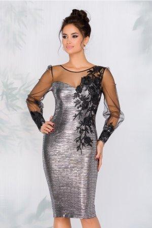 Rochie de ocazie eleganta argintie cu paiete si maneci din tull