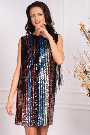 Rochie de seara din tul cu paiete multicolore midi dreapta