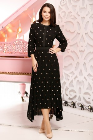 Rochie de zi eleganta lunga asimetrica neagra cu imprimeu