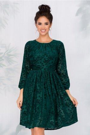 Rochie eleganta de ocazie cu insertii florale din catifea