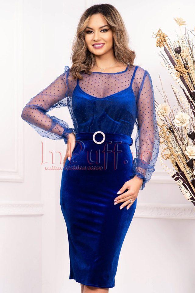 Rochie eleganta de seara albastra midi din catifea cu bustul din tul