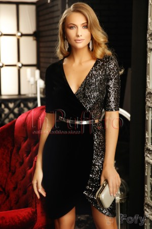Rochie eleganta de seara neagra midi din catifea si paiete argintii