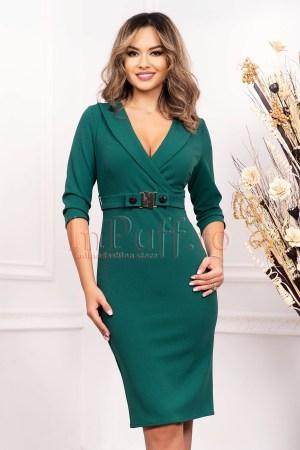 Rochie eleganta de zi verde midi conica cu decolteu in V