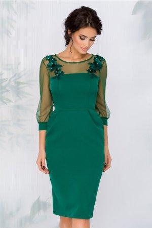 Rochie eleganta midi verde cu croi cambrat si flori 3D la bust