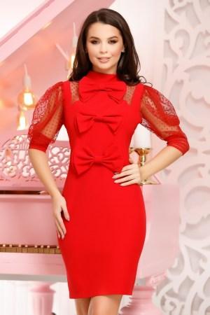 Rochie eleganta scurta rosie cu trei fundite