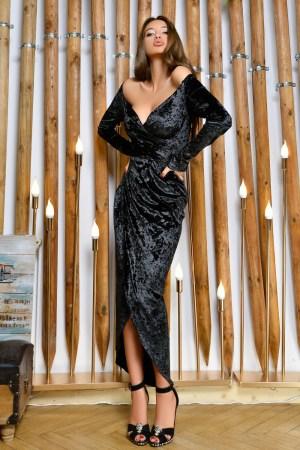 Rochie lunga neagra eleganta din catifea