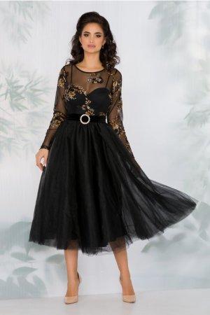 Rochie neagra cu fusta din tull si broderie florala galbena la bust