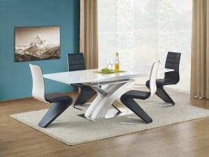Set masa extensibila din MDF si metal Sandor White + 4 scaune K194 Black / White