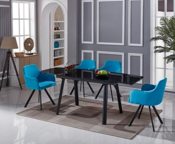 Set masa extensibila din sticla si metal Sorana Black cu 4 scaune Yasmin Blue