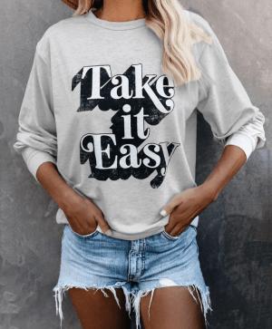 Bluza de trening casual cu imprimeu model litere