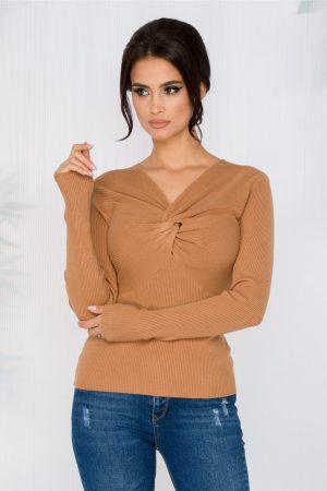 Bluza maro casual din tricot cu textura reiata