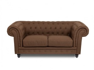Canapea fixa tapitata cu stofa 2 locuri Chesterfield All Brown, l192xA95xH76 cm