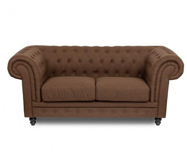 Canapea fixa tapitata cu stofa 2 locuri Chesterfield All Brown, l192xA95xH76 cm
