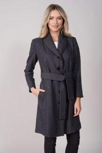 Palton dama gri atemporal din tesatura moale cu cordon la talie